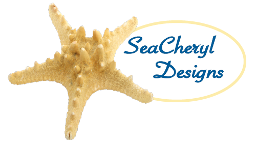 SeaCheryl logo, sea star with SeaCheryl Designs overlay