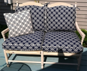 Outdoor love seat cushions and matching pillow