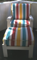Indoor/outdoor hand-sewn lounge chair striped cushions