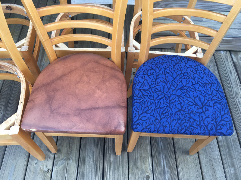 Custom made fabric seat cushions on wooden chairs