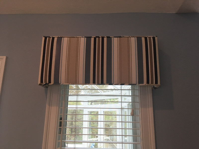 Valance drapes with piping installed on window