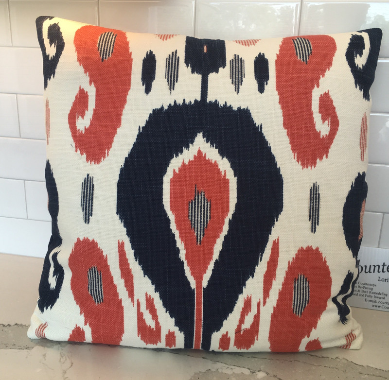 Modern geometric-patterned square throw pillow