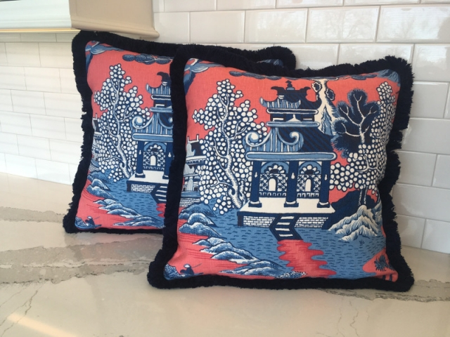 Two perfectly matched throw pillows with thick thread edging, fabric of Chinese pattern