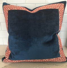 Square throw pillow with contrasting border on front panel