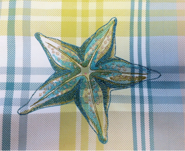Closeup of plaid fabric with sea star on pillow
